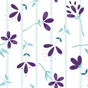 Watercolor Painted Wild Florals on Stripes seamless pattern background.