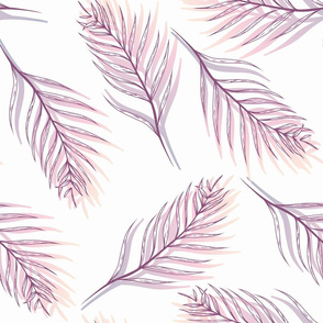 Sunset Tropical Leaves with Line Art seamless pattern background.