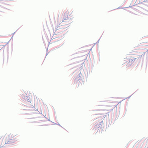 Pastel Sunset Tropical Leaves with Line Art seamless pattern background.