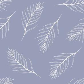 Line Art Tropical Leaves on Light Blue seamless pattern background.