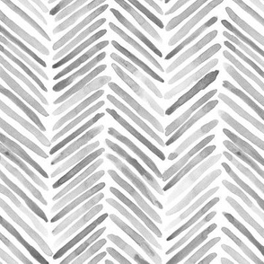 Silver grey herringbone - watercolor brush stroke abstract geometric painted pattern