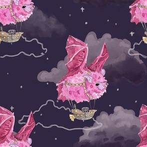 Pink Bat Airships in the Clouds