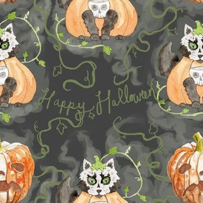 Halloween Cats in the Pumpkin Patch