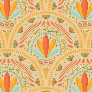 Folk Art Geometric Floral Round Pattern
