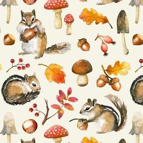 Autumn Chipmunk / Cream / Small Scale