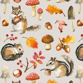 Autumn Chipmunk / Light Grey / Small Scale