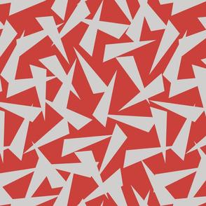 SPLINTERS GREY ON RED
