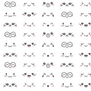 Kawaii Faces on White