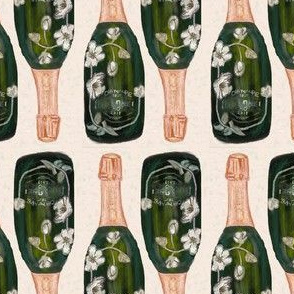 "champagnes bottles only - small scale 2.55""x4"" repeat"