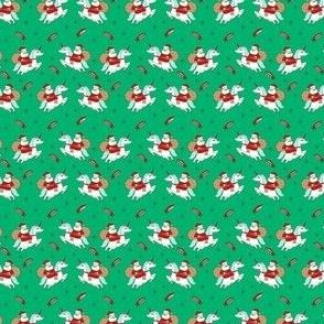 TINY - santa unicorn fabric - funny christmas fabric, unicorn christmas fabric, santa claus fabric, father christmas fabric, cute holiday design -  green