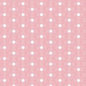 Carnation Pink Filigree on White