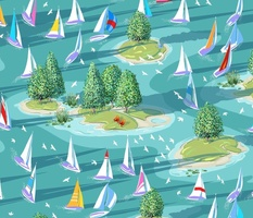 Summer Sunrise Regatta | Multi-Color | Large