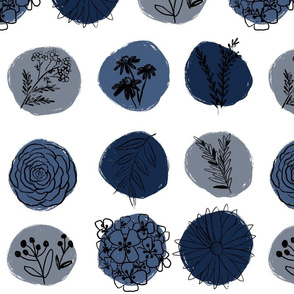 Flower Sketch Nuetral Blue Straight Repeat