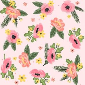 Pink Florals - Pink Background