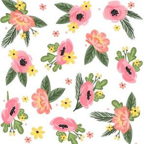Pink Florals - White background