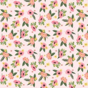 Ditsy pink Florals - Pink Background