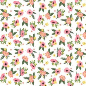 Ditsy Pink Florals - White background