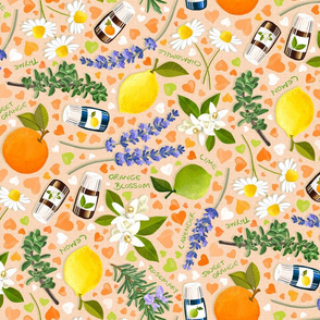 Essential Oils Love - peach background