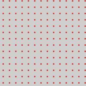 TINY SQUARES RED ON GREY