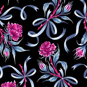 Ribbon Roses - Black Grey Pink