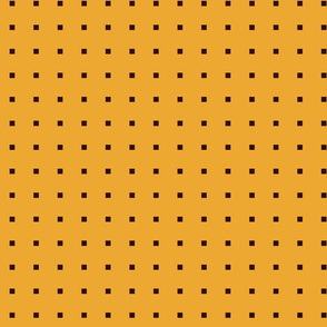 TINY SQUARES CHOCOLATE BROWN ON YELLOW