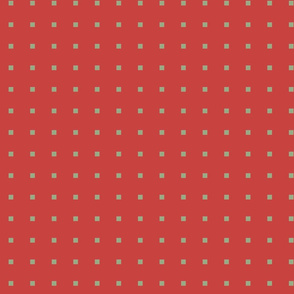 TINY SQUARES SAGE ON RED