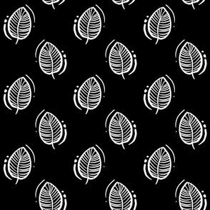 Block print leaf -white on black