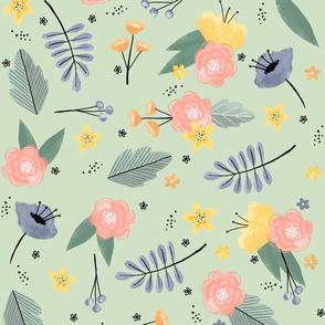 Wild flowers - Sage background