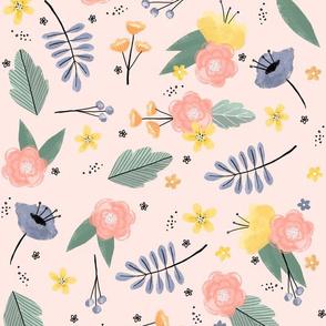 Wild flowers - Pink  background