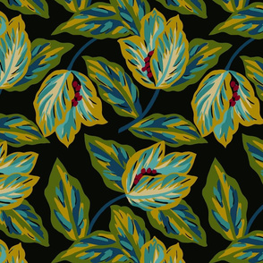 Rainforest Tossed Floral- Black and Yellow
