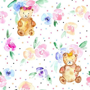 Teddies in rose garden - watercolor teddy bears and flowers for nursery