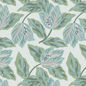 Rainforest Tossed Floral- Soft Grey