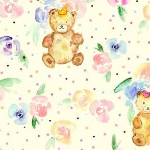 Teddies in rose garden on cream - watercolor teddy bears and flowers for nursery