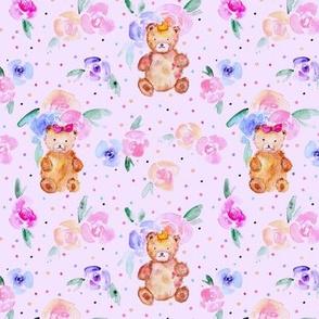 teddies in rose garden on light purple - watercolor teddy bears and flowers for nursery