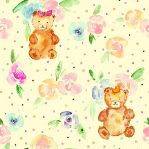teddies in rose garden on cream - watercolor teddy bears and flowers for nursery