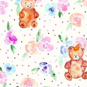 teddies in rose garden on cream - watercolor teddy bears and flowers for nursery p320