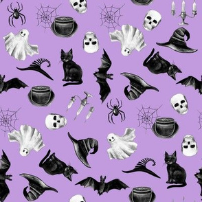 watercolor witch fabric - halloween design - purple