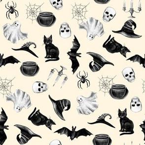 watercolor witch fabric - halloween design - cream