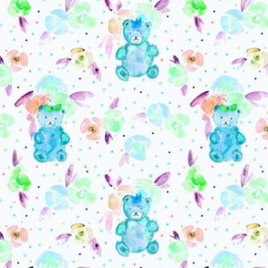 Mint teddies in rose garden - watercolor teddy bears and flowers for nursery