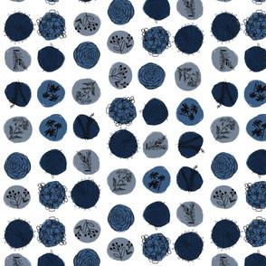 Blue Neutral Sketchy Flowers Half Drop
