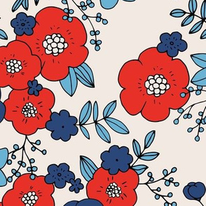 Vintage english rose garden flowers and leaves boho blossom print nursery night red blue navy LARGE