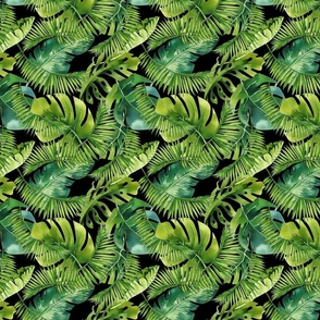 Lush Green Monstera And Palm Leaf Pattern Smaller