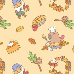 Guinea pig and capybara fall and pie pattern in light orange