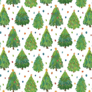 Painted Christmas Trees on white-medium scale