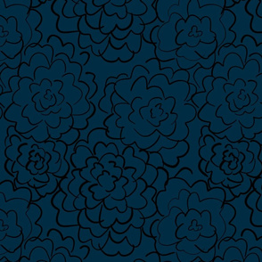 wild roses in dark blue