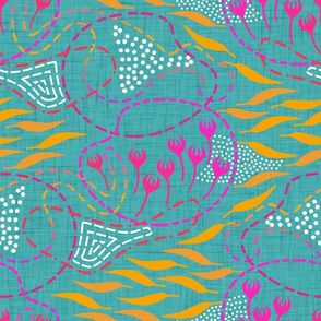 spicy abstract on teal linen