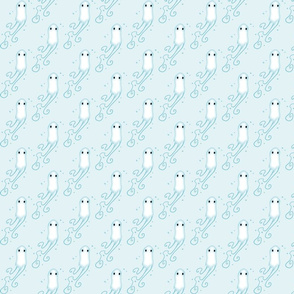 Little Ghosts Pale Blue Background