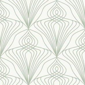 Art Nouveau diamond cream and grey wallpaper scale by Pippa Shaw
