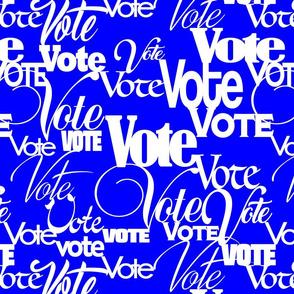 VOTE, blue background