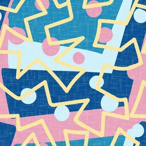 Abstract zigzag yellow pink medium scale